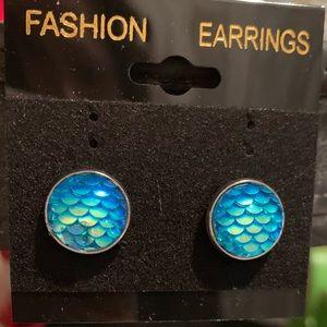 Blue mermaid scale earrings with metal studs